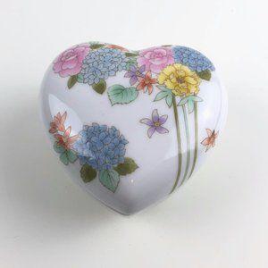 Vintage Takahashi Floral Heart Shaped Trinket Box